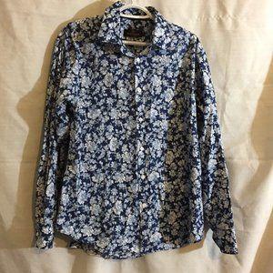 Bugatchi Uomo Blue Rose Button Front Shirt Large L
